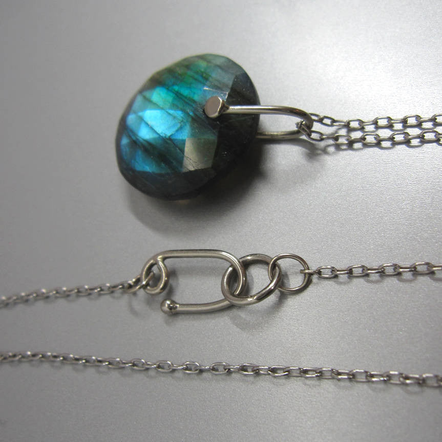 Rose Cut Labradorite Disc Drop Solid 14k White Gold Necklace