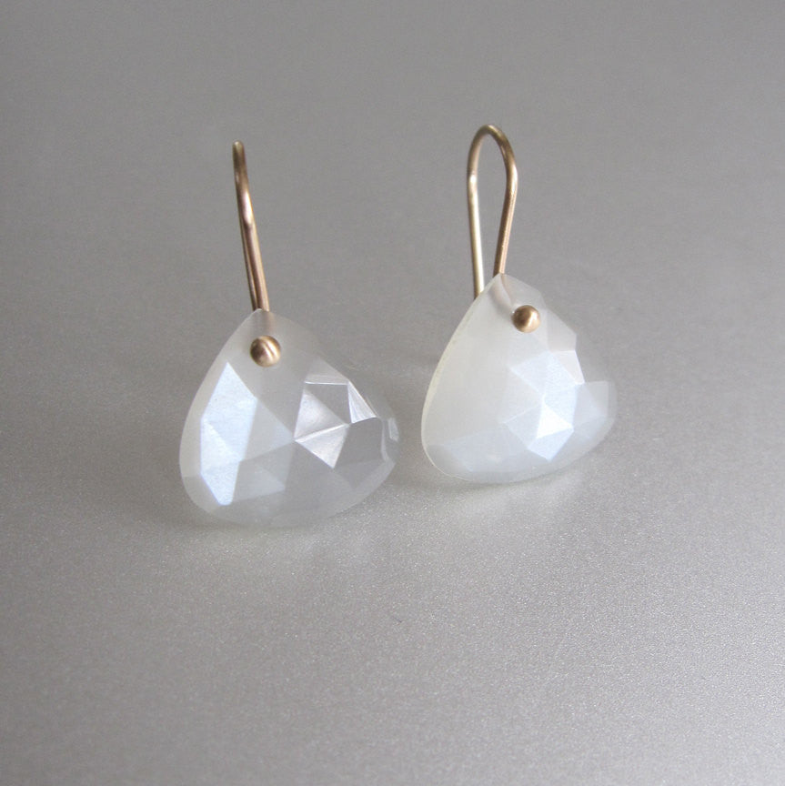 Light Gray Moonstone Rose Cut Drops Solid 14k Gold Earrings