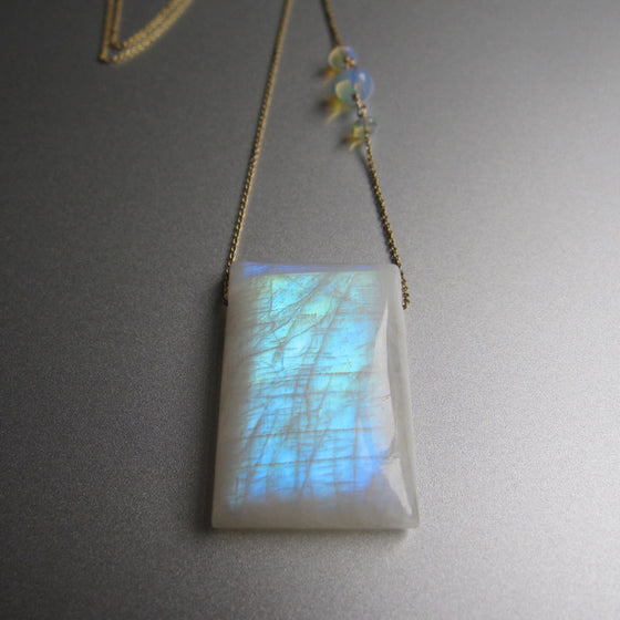 Large Rainbow Moonstone Drop Opal Solid 14k Gold Necklace