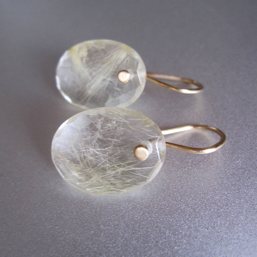 Oval Rose Cut Gold Rutilated Quartz Drops Solid 14k Gold Earrings