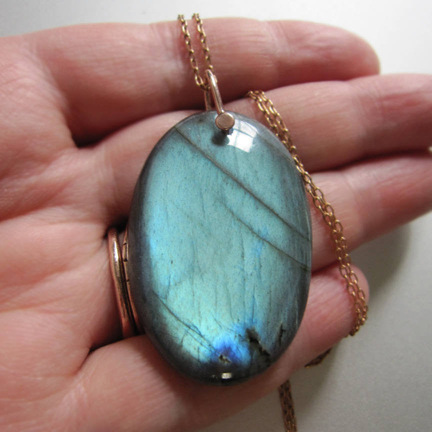 Large Teal Labradorite Drop Solid 14k Rose Gold Necklace
