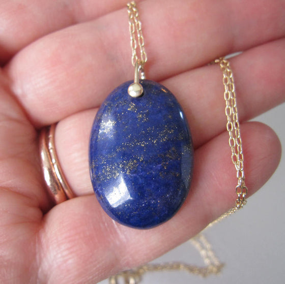 Lapis Lazuli Oval Drop Solid 14k Gold Necklace