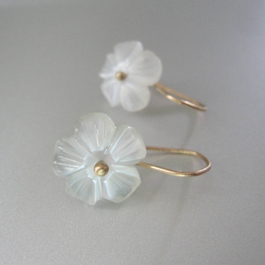 moonstone flower drop solid 14k gold earrings2