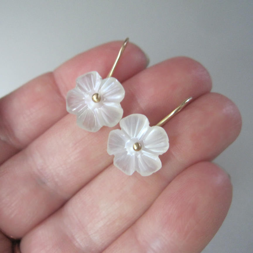moonstone flower drop solid 14k gold earrings