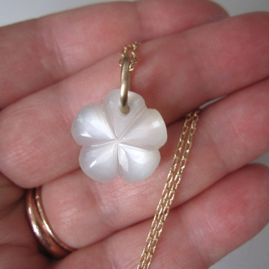 moonstone flower drop solid 14k gold necklace3