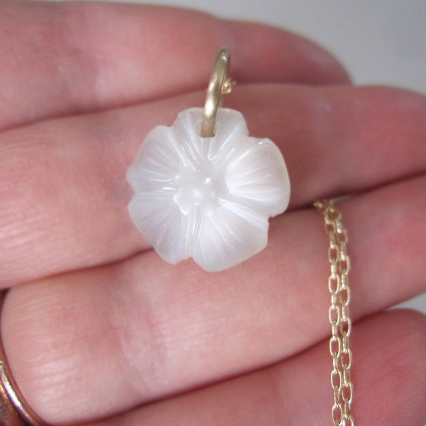 moonstone flower drop solid 14k gold necklace4
