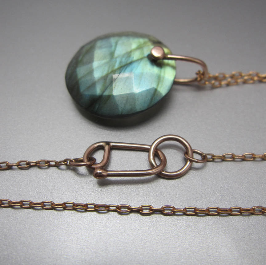 Rose Cut Labradorite Disc Drop Solid 14k Rose Gold Necklace