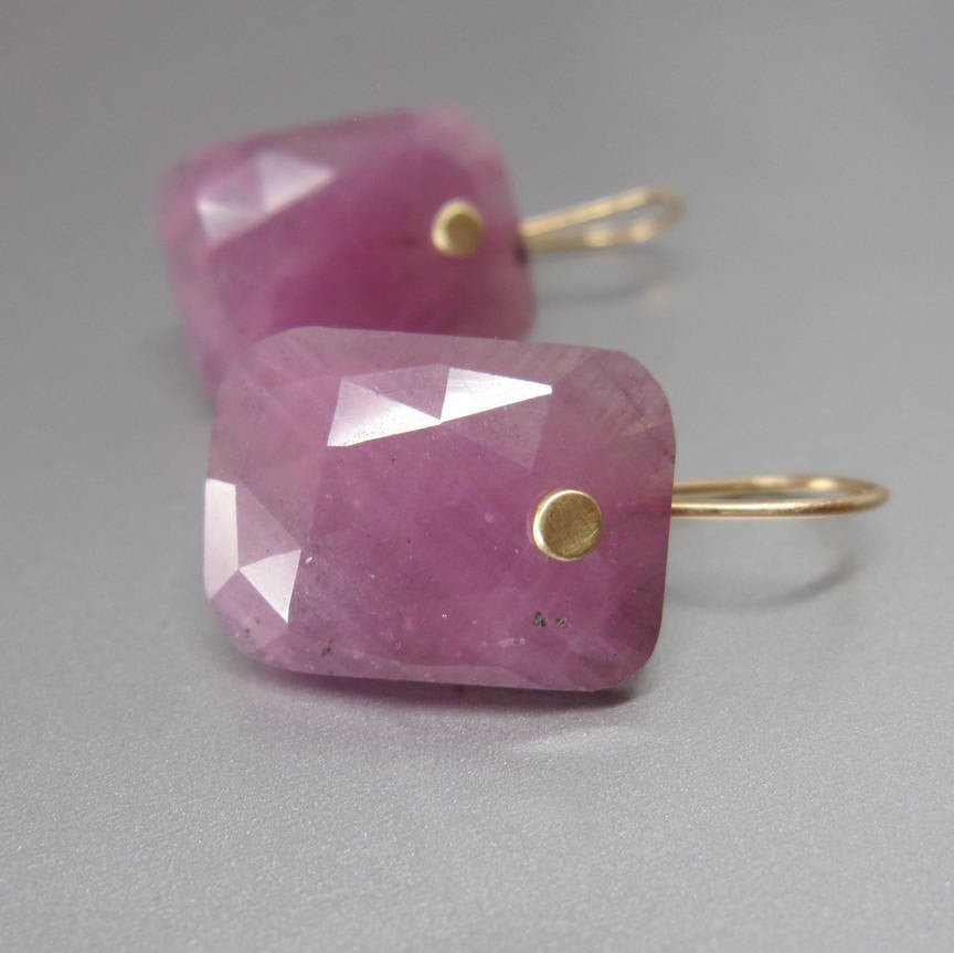 Pink Sapphire Rose Cut Cushion Drops Solid 14k Gold Earrings