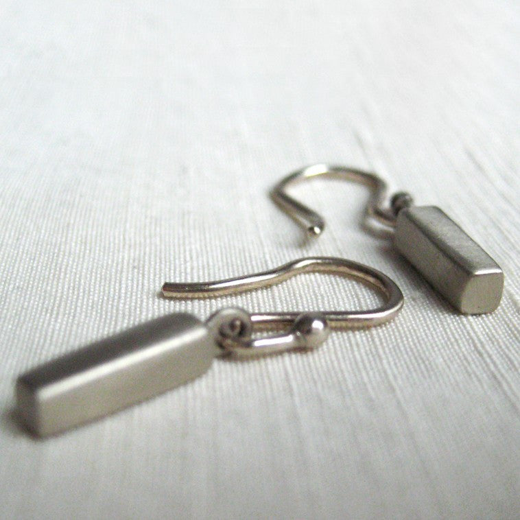 solid 14k white gold bar earrings