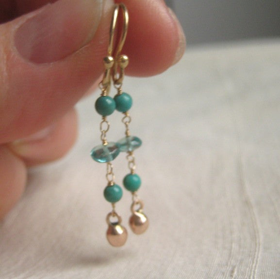 apatite and turquoise solid 14k rose gold earrings