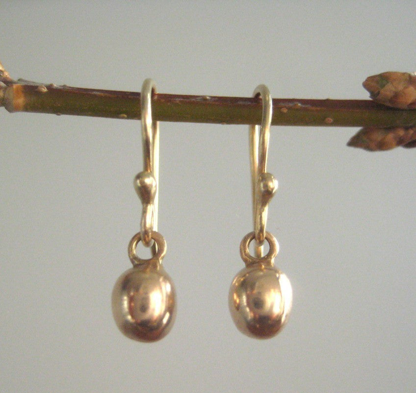 Solid Gold Earrings 14k Rose Gold Drops Solid 14k Gold Earrings