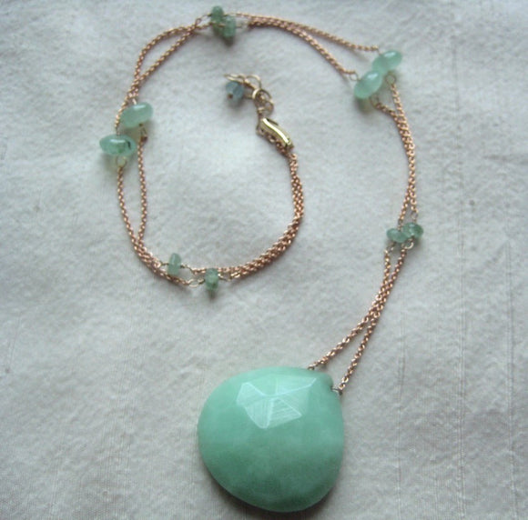 Green Chrysoprase and Emerald Solid 14k Rose Gold Necklace