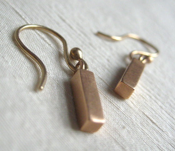Solid 14k Rose Gold Bar Earrings