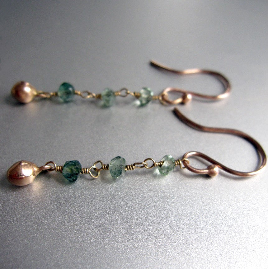 Green Tourmaline Solid 14k Rose Gold Dangle Earrings