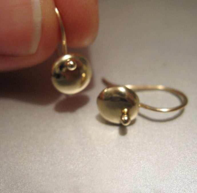 Solid 14k Yellow Gold Lentil Earrings