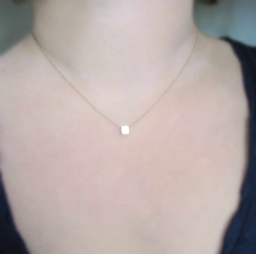 Solid 14k Pink Gold Square on Chain Necklace