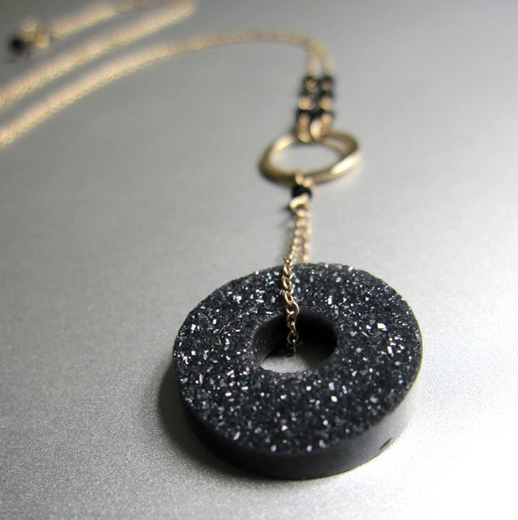 black agate drusy and spinel solid 14k gold necklace