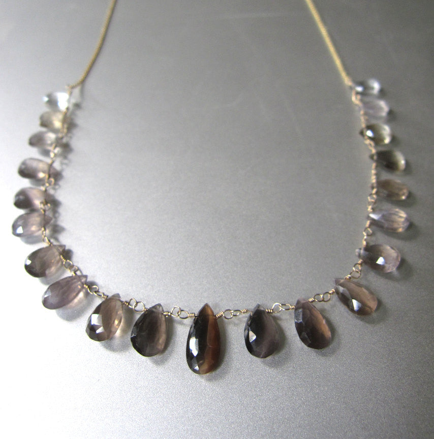 Sillimanite Ombre and Solid 14k Gold Necklace