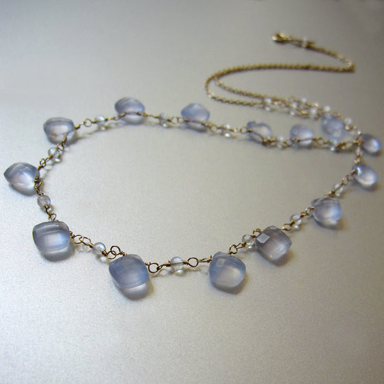 blue chalcedony and rainbow moonstone solid 14k gold choker