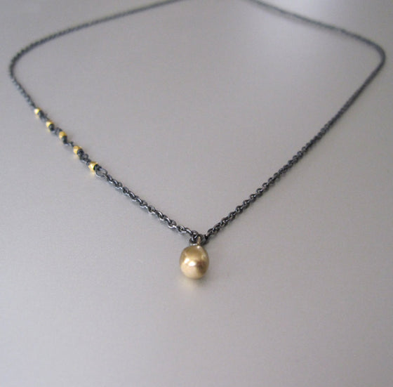 antiqued silver and 18k and 14k gold drop necklace