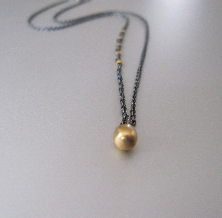 antiqued silver and 18k and 14k gold drop necklace3