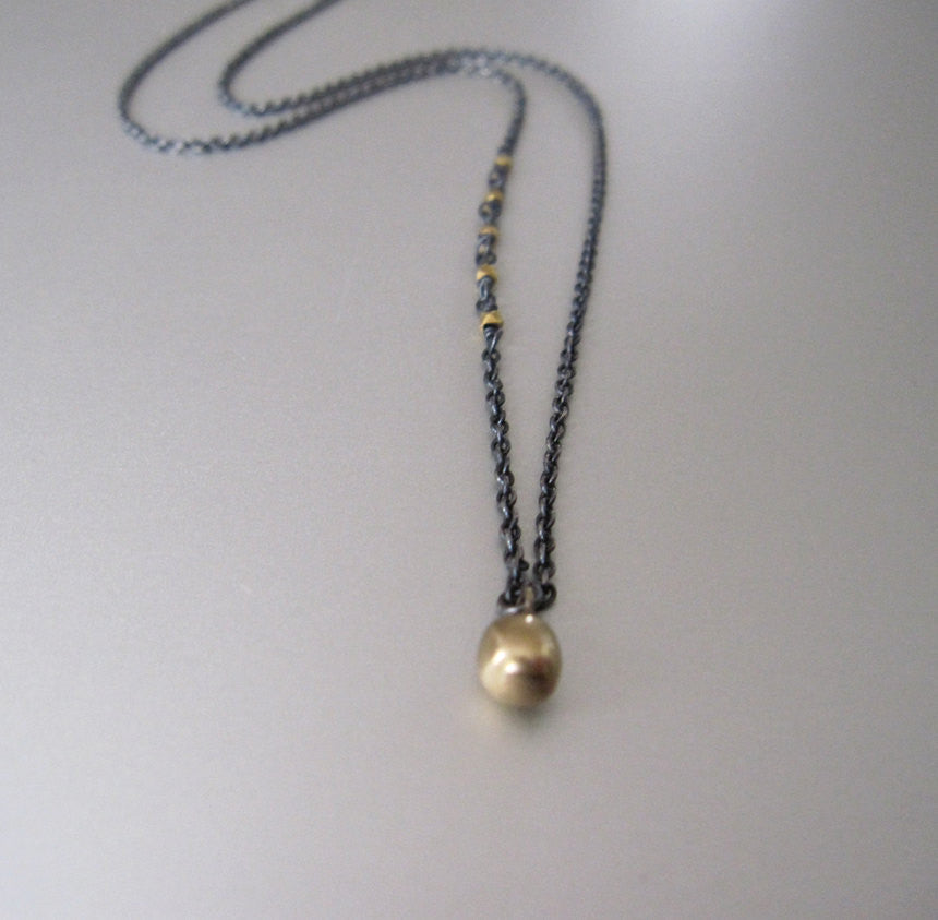 antiqued silver and 18k and 14k gold drop necklace2