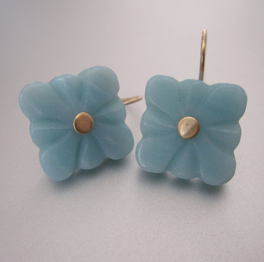 aamazonite square flower quatrefoil drops solid 14k gold earrings2