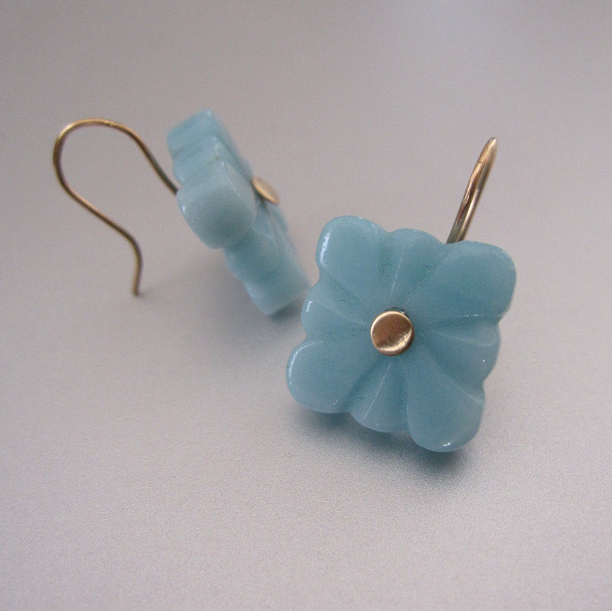 amazonite square flower quatrefoil drops solid 14k gold earrings4
