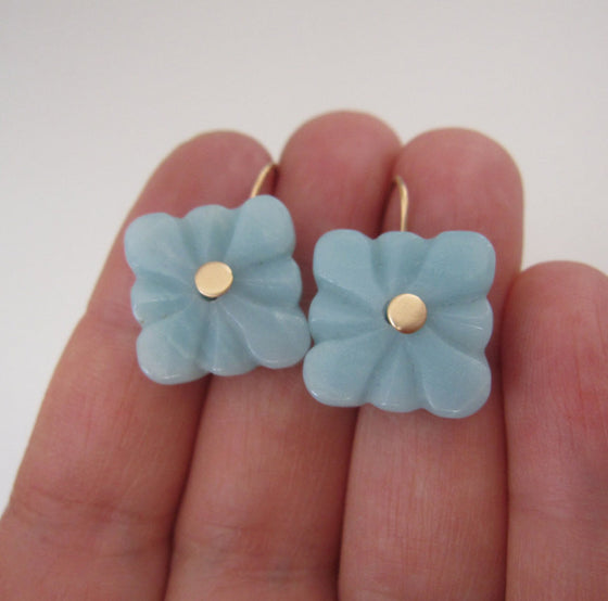 amazonite square flower quatrefoil drops solid 14k gold earrings