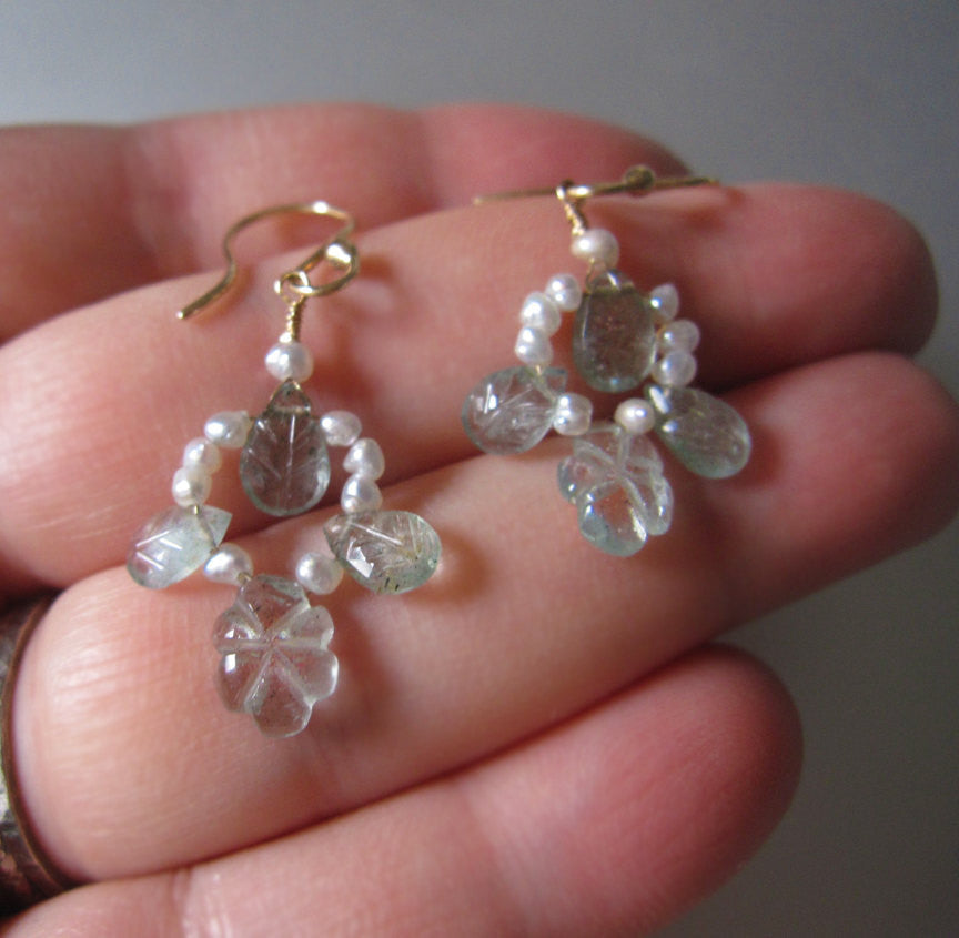 Moss Aquamarine and Keshi Pearl Floral Solid 14k Gold Earrings