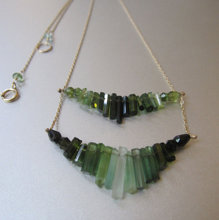 Tourmaline and Solid 14k Gold Chevron Necklace