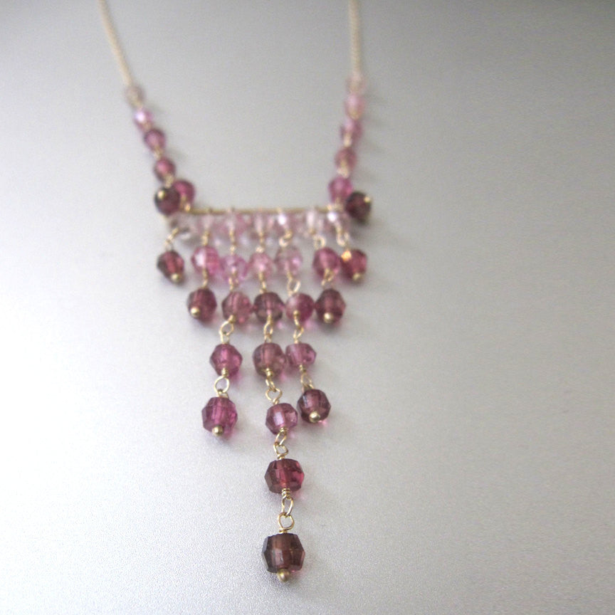 Pink Tourmaline Solid 14k Gold Chevron Necklace