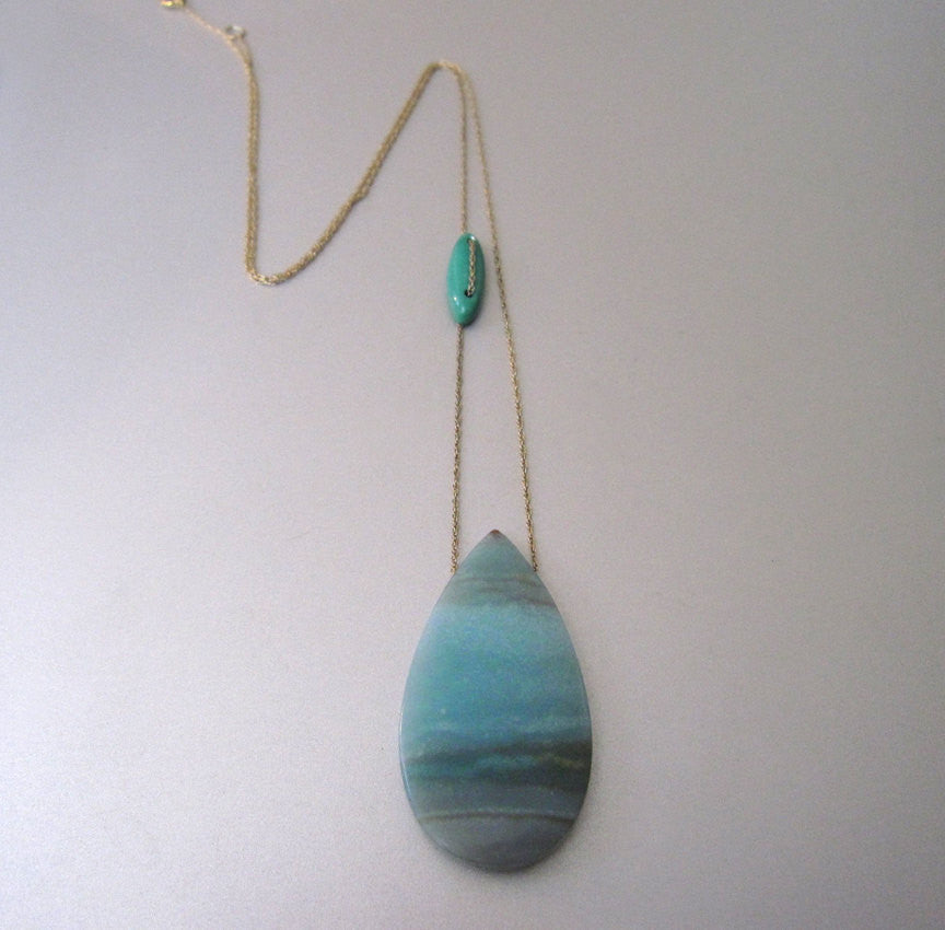 Amazonite and Turquoise Solid 14k Gold Drop Necklace2