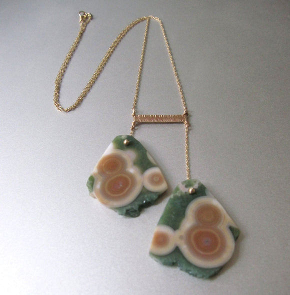 Ocean Jasper Double Slice Solid 14k Gold Necklace