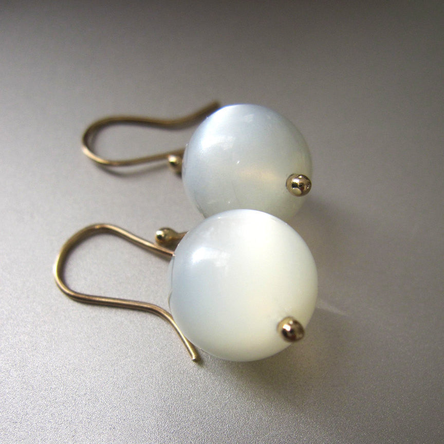 Gray Moonstone Marbles Solid 14k Gold Earrings