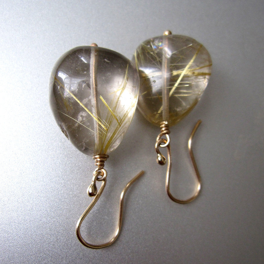 Large Gold Rutilated Pebbles Solid 14k Gold Earrings
