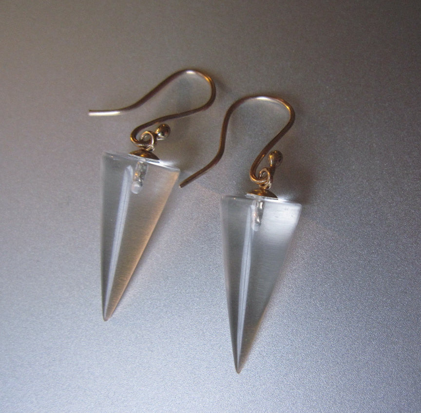 Quartz Crystal Cone Drops Solid 14k Gold Earrings