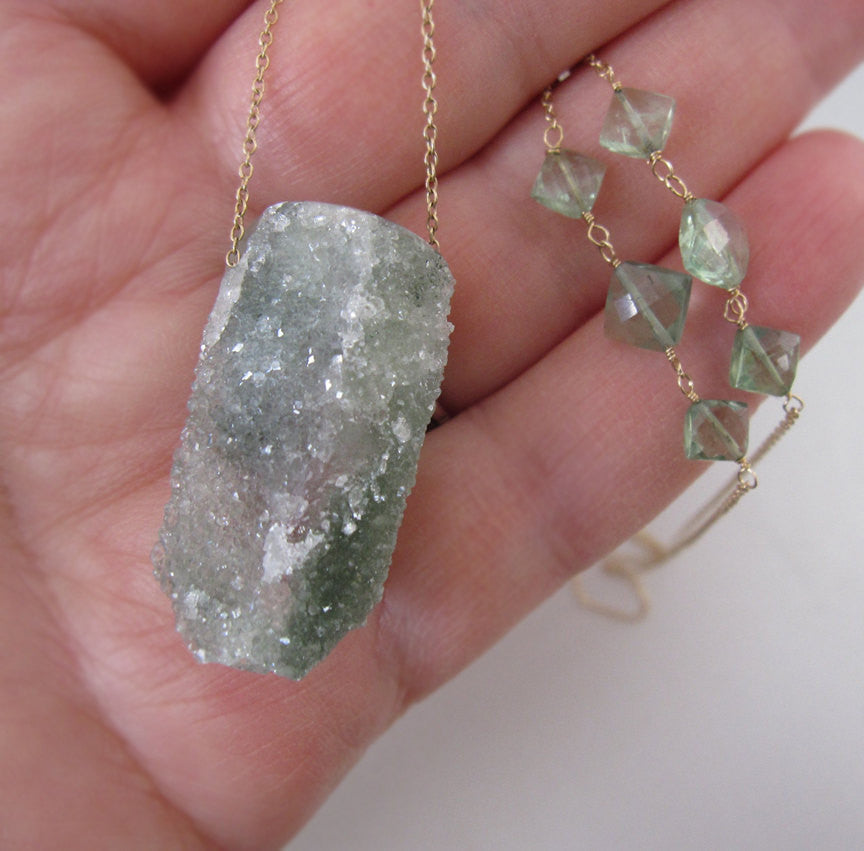 chlorite drusy crystal drop emerald solid 14k gold necklace 4