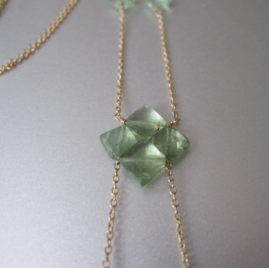 chlorite drusy crystal drop emerald solid 14k gold necklace 3
