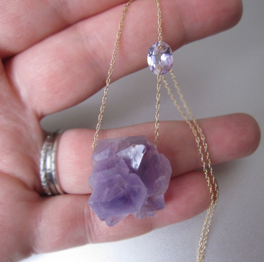 amethyst crystal cluster solid 14k gold necklace