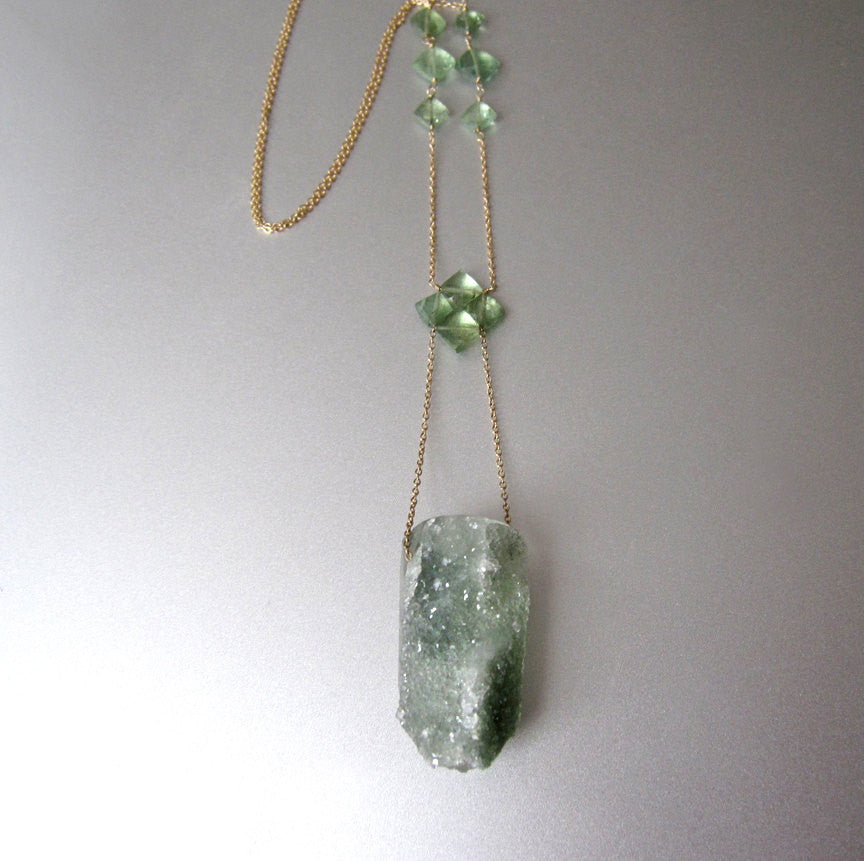 chlorite drusy crystal drop emerald solid 14k gold necklace