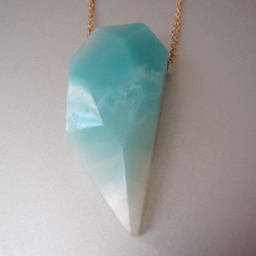 Amazonite and Turquoise Solid 14k Gold Necklace3