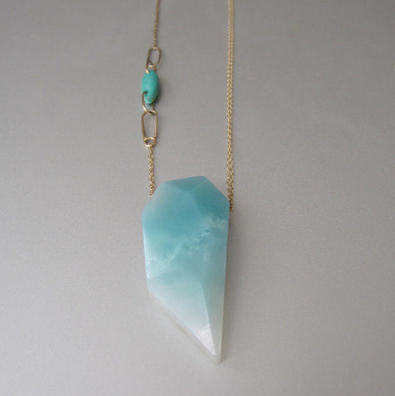 Amazonite and Turquoise Solid 14k Gold Necklace