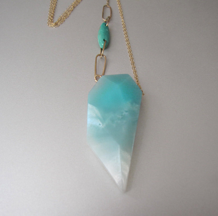 Amazonite and Turquoise Solid 14k Gold Necklace2
