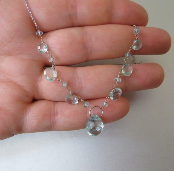 aquamarine droplet solid 14k white gold necklace