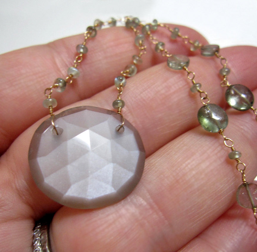 Rose Cut Moonstone Chrysoberyl and Tourmaline Solid 14k Gold Necklace