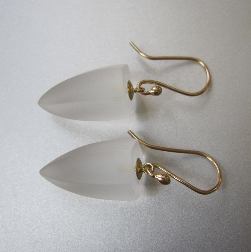 Frosted Quartz Crystal Drops Solid 14k Gold Earrings