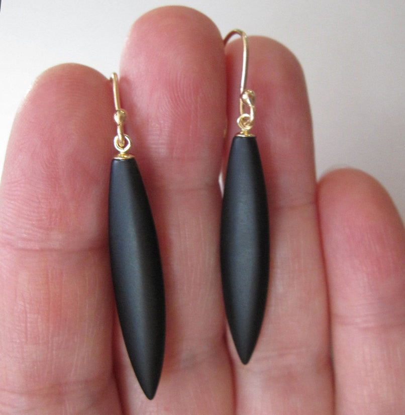 Frosted Black Onyx Spears Solid 14k Gold Earrings