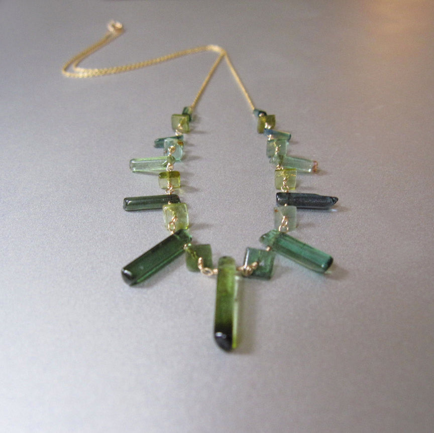 Green Tourmaline Crystal Solid 14k Gold Necklace