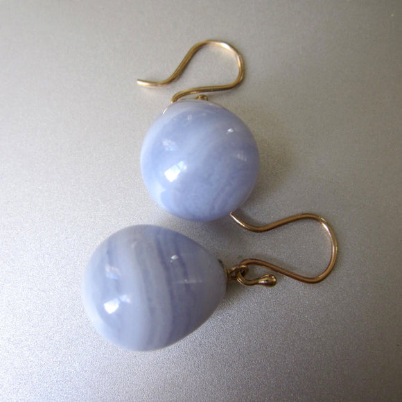 blue lace agate egg drops solid 14k gold earrings